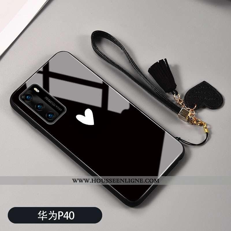 Étui Huawei P40 Silicone Protection Coque Verre Téléphone Portable Incassable Noir
