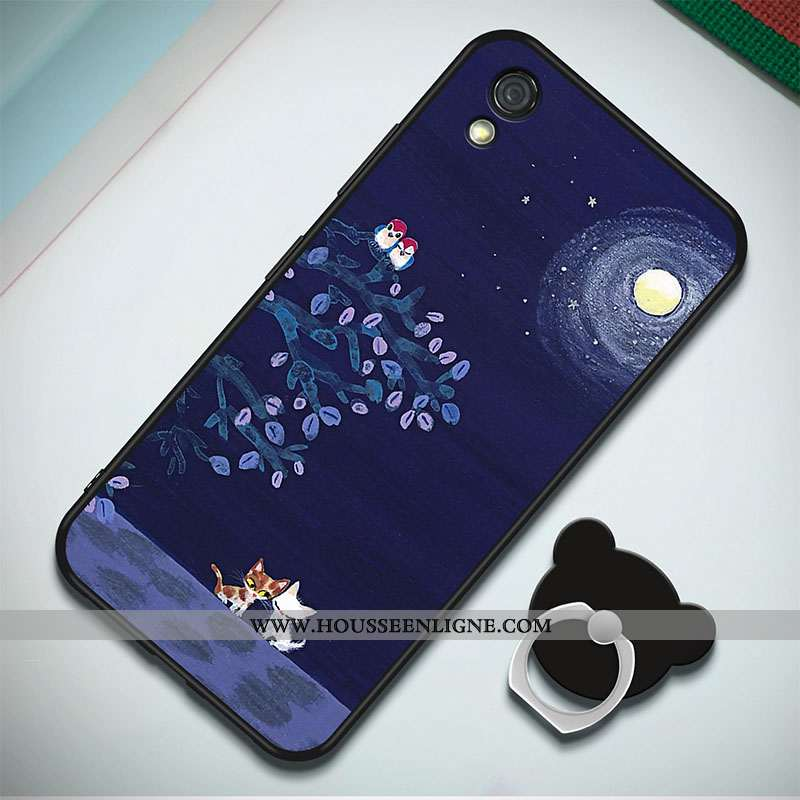 Étui Huawei Y5 2020 Fluide Doux 2020 Coque Incassable Peinture Téléphone Portable Anneau Bleu Foncé