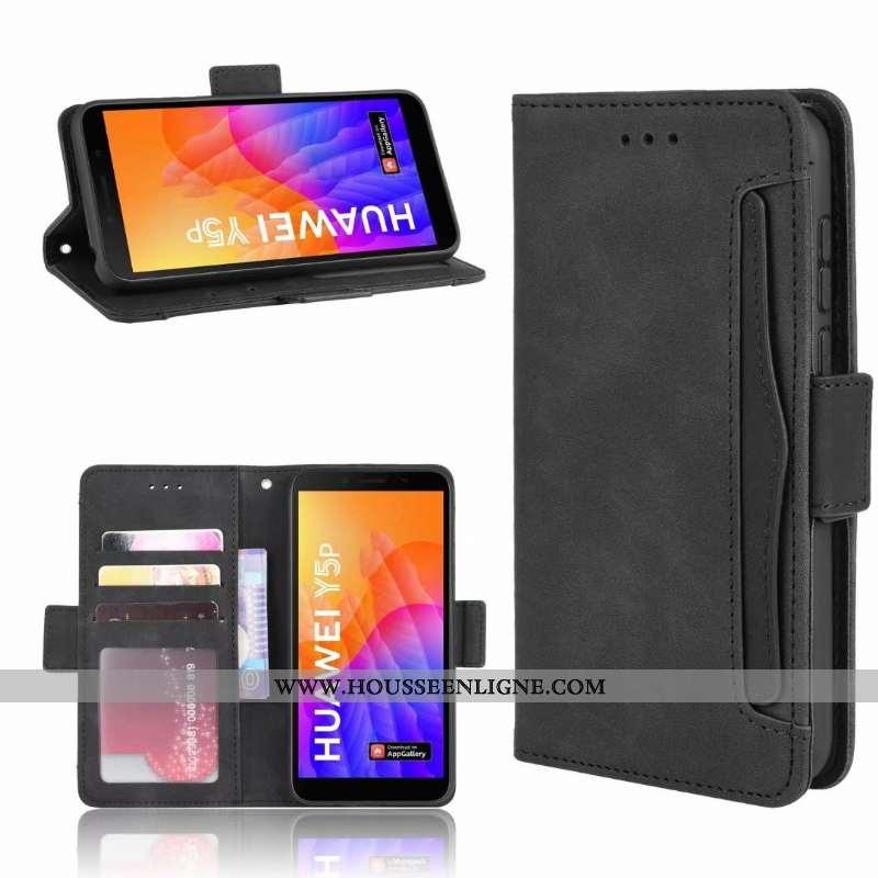Étui Huawei Y5p Cuir Fluide Doux Téléphone Portable Housse Coque Tout Compris Noir
