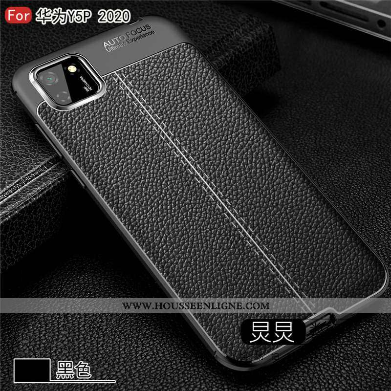 Étui Huawei Y5p Fluide Doux Silicone Téléphone Portable Coque Tout Compris Cuir Noir