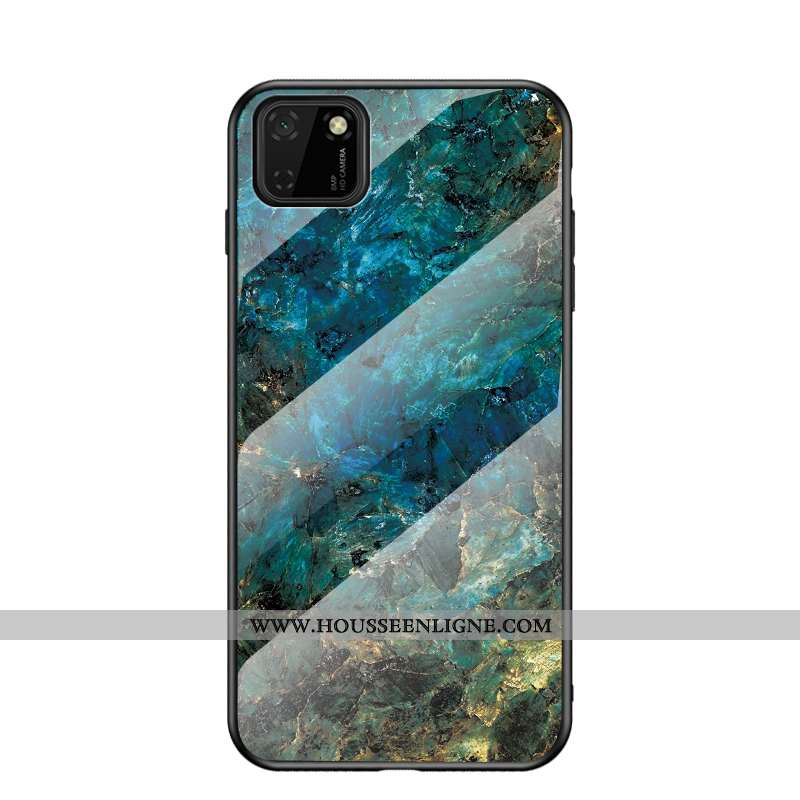 Étui Huawei Y5p Fluide Doux Silicone Verre Protection Mode Coque Peinture Bleu