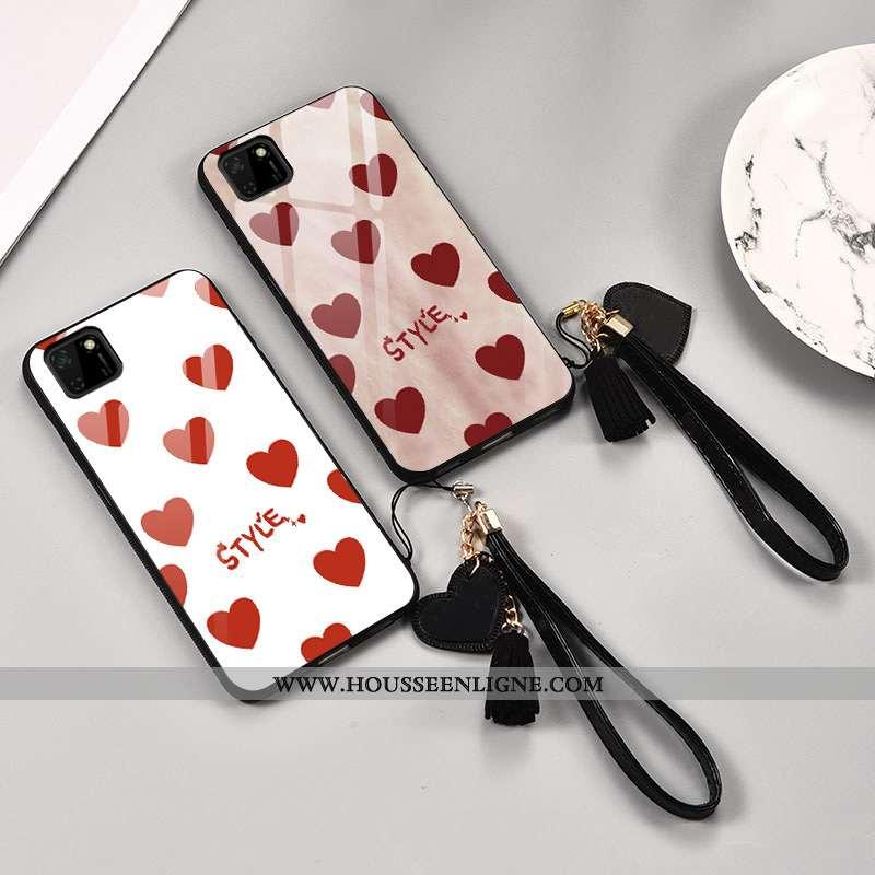 Étui Huawei Y5p Tendance Légère Ultra Verre Amour Personnalité Créatif Blanche