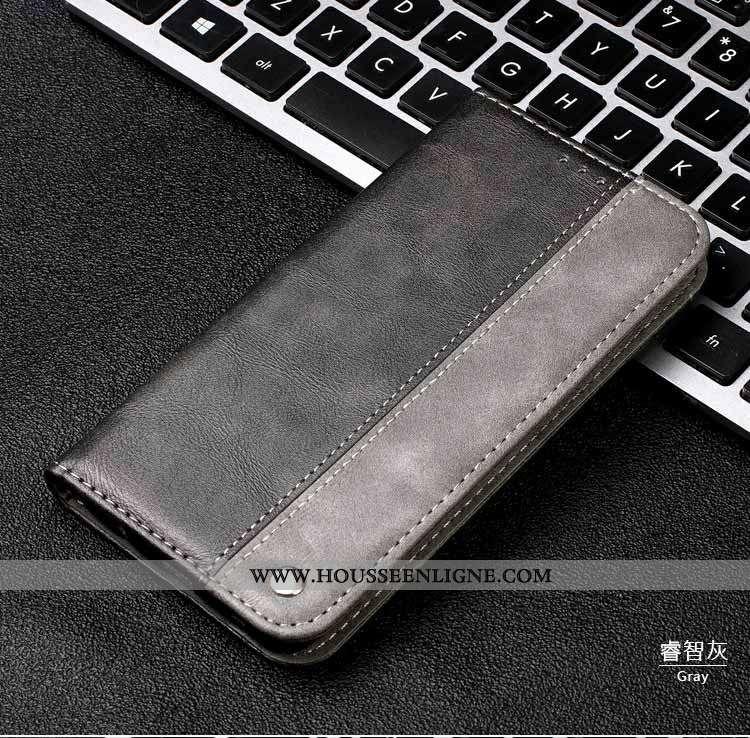 Étui Huawei Y6 2020 Cuir Véritable Gris Téléphone Portable Housse Incassable 2020 Coque