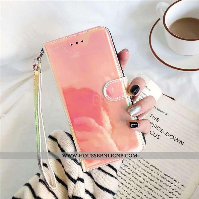 Étui Huawei Y6 2020 Fluide Doux Cuir Rose Coloré Téléphone Portable Miroir