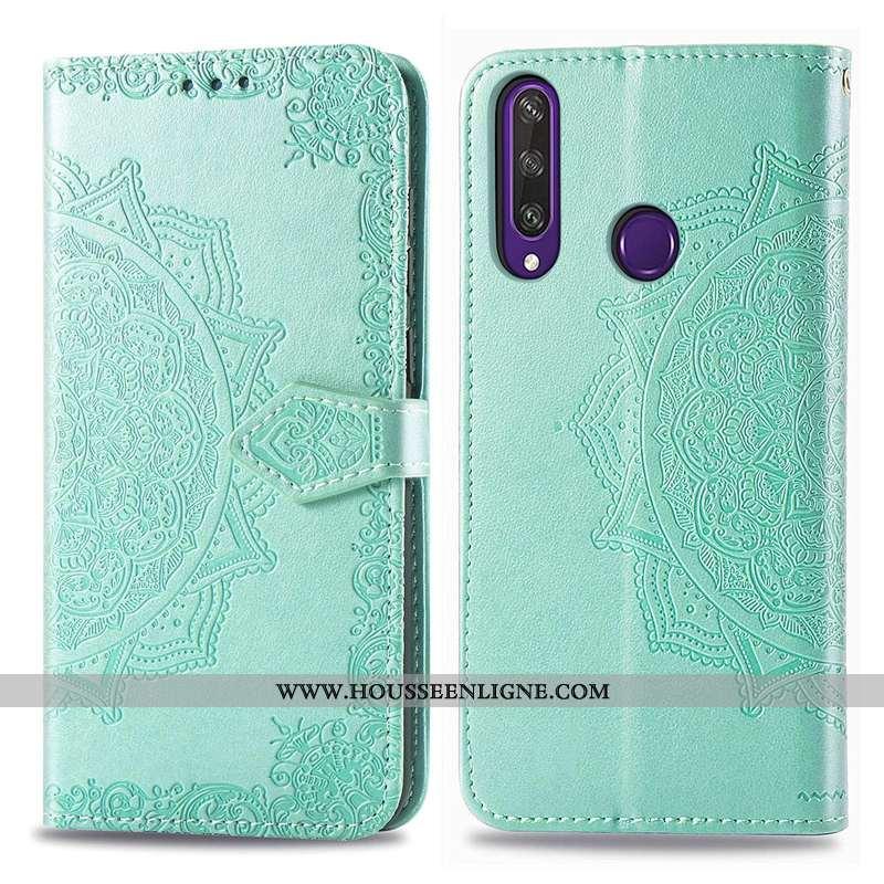 Étui Huawei Y6p Cuir Gaufrage Téléphone Portable Vert Clamshell Coque Verte