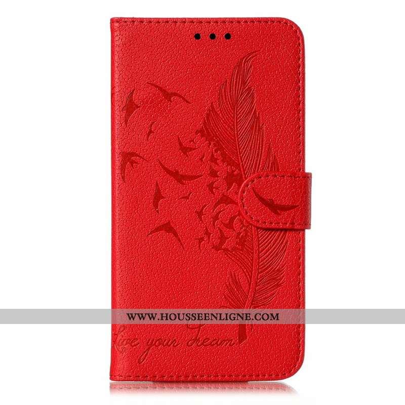 Étui Huawei Y6p Cuir Portefeuille Rouge Sac Carte Clamshell Coque