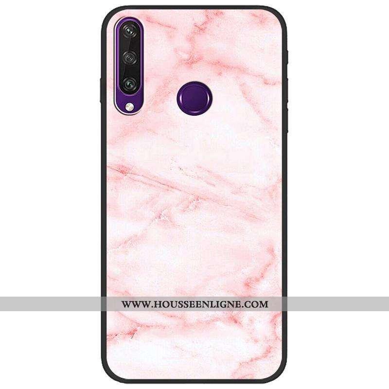 Étui Huawei Y6p Fluide Doux Protection Téléphone Portable Délavé En Daim Rose Dessin Animé Créatif