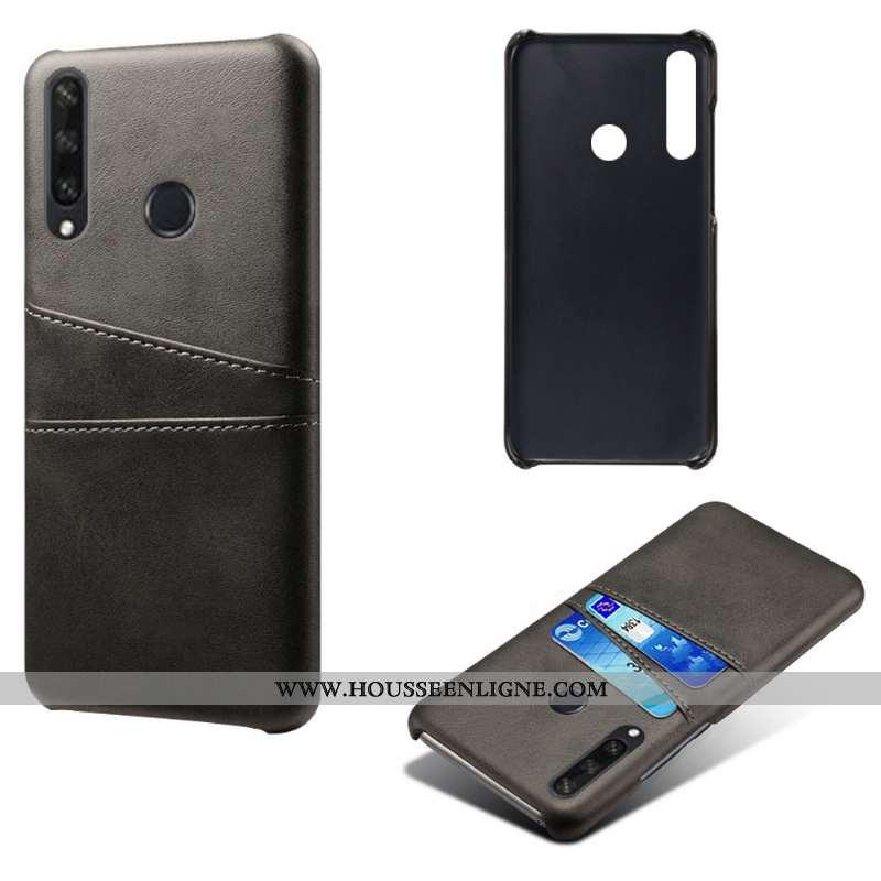 Étui Huawei Y6p Légère Cuir Téléphone Portable Coque Noir Carte