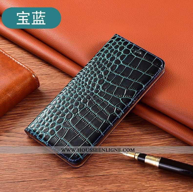 Étui Huawei Y6p Protection Cuir Véritable Téléphone Portable Bleu Coque Incassable