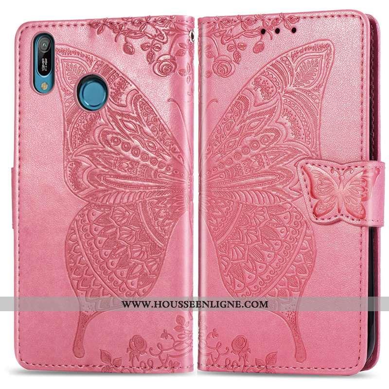 Étui Huawei Y6s Protection Ornements Suspendus Papillon En Relief Téléphone Portable Cuir Rose