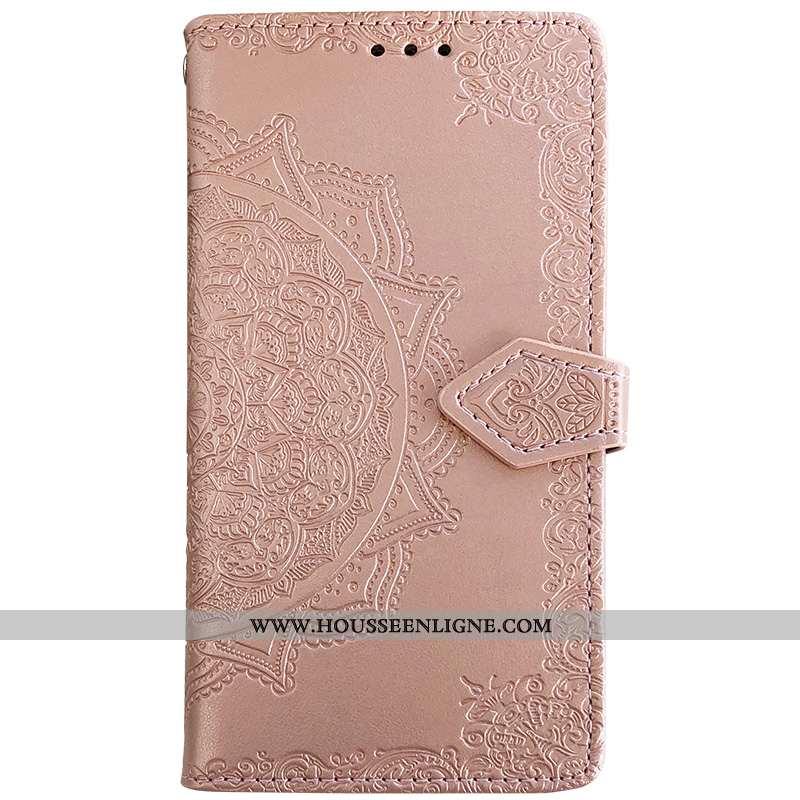 Étui Huawei Y7 2020 Cuir Fluide Doux Téléphone Portable Clamshell Gaufrage Carte Coque Rose