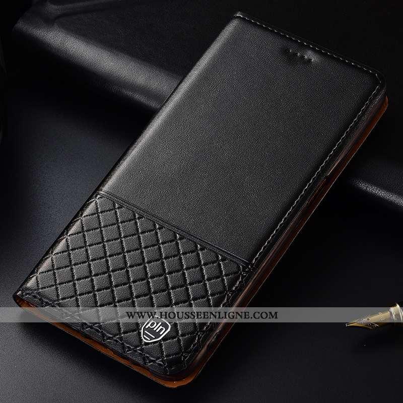 Étui Huawei Y7 2020 Protection Cuir Véritable Coque Incassable Cuir Téléphone Portable Noir