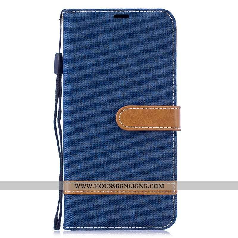 Étui Huawei Y7 2020 Protection Portefeuille Coque Carte 2020 En Denim Bleu