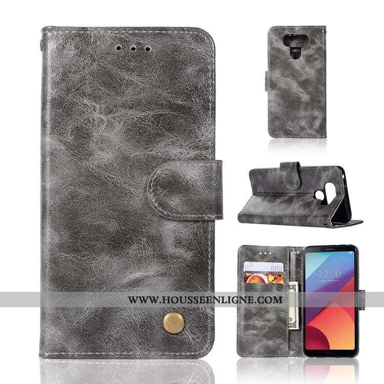 Étui Lg G6 Cuir Protection Coque Gris Clamshell Téléphone Portable