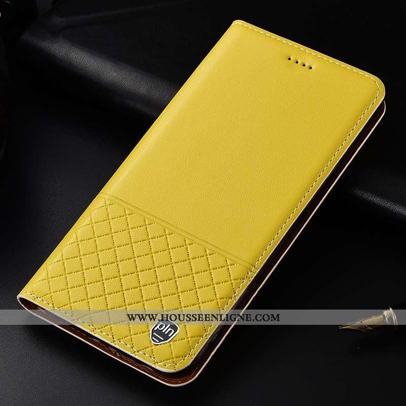 Étui Lg K11 Cuir Véritable Cuir Housse Incassable Plaid Téléphone Portable Jaune