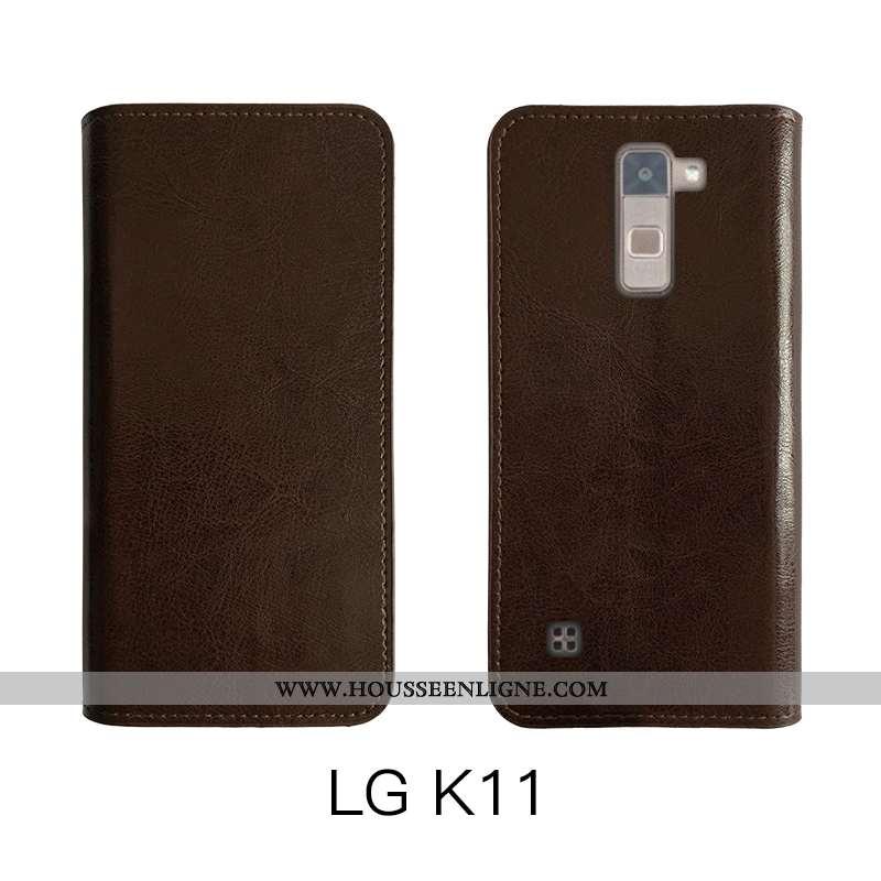 Étui Lg K11 Fluide Doux Protection Marron Simple Téléphone Portable Cuir Véritable