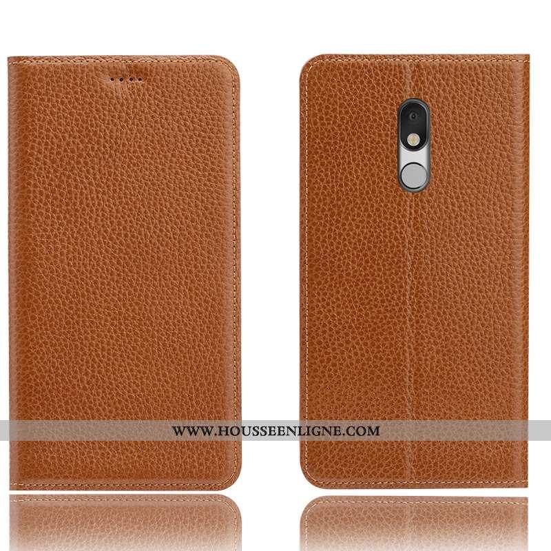 Étui Lg Q Stylus Cuir Véritable Protection Téléphone Portable Litchi Tout Compris Coque Marron