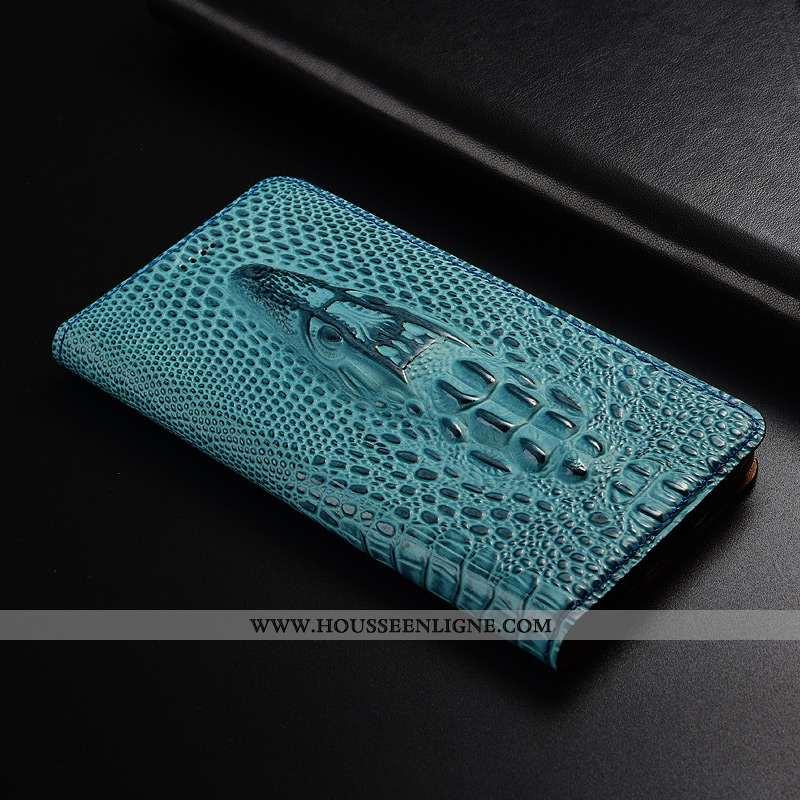 Étui Moto G7 Modèle Fleurie Protection Bleu Coque Cuir Véritable Téléphone Portable Crocodile