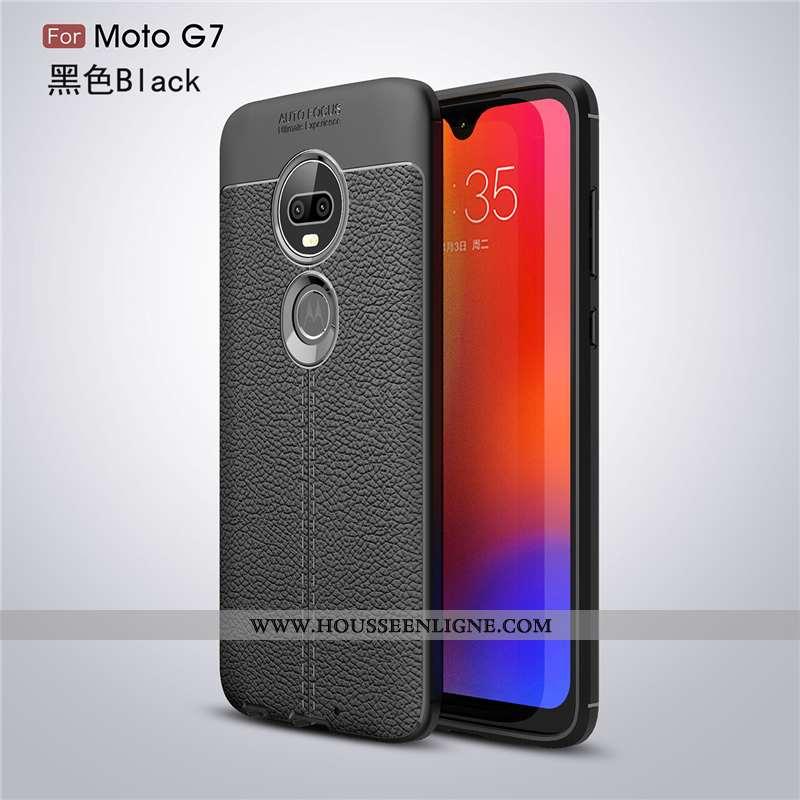 Étui Moto G7 Personnalité Créatif Cuir Noir Fluide Doux Téléphone Portable Modèle Fleurie