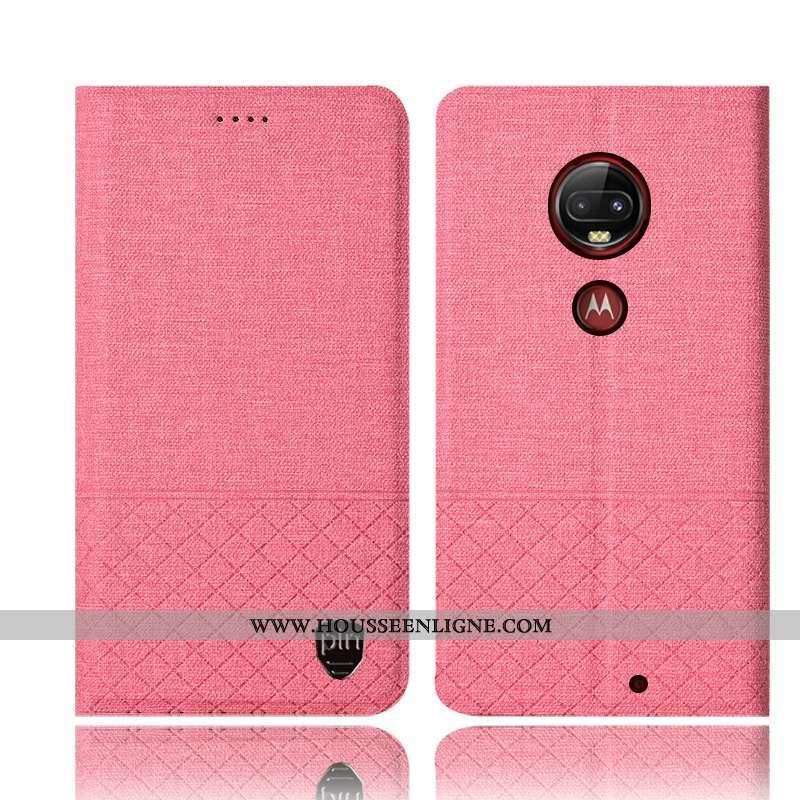 Étui Moto G7 Plus Cuir Protection Incassable Lin Rose Téléphone Portable Coque