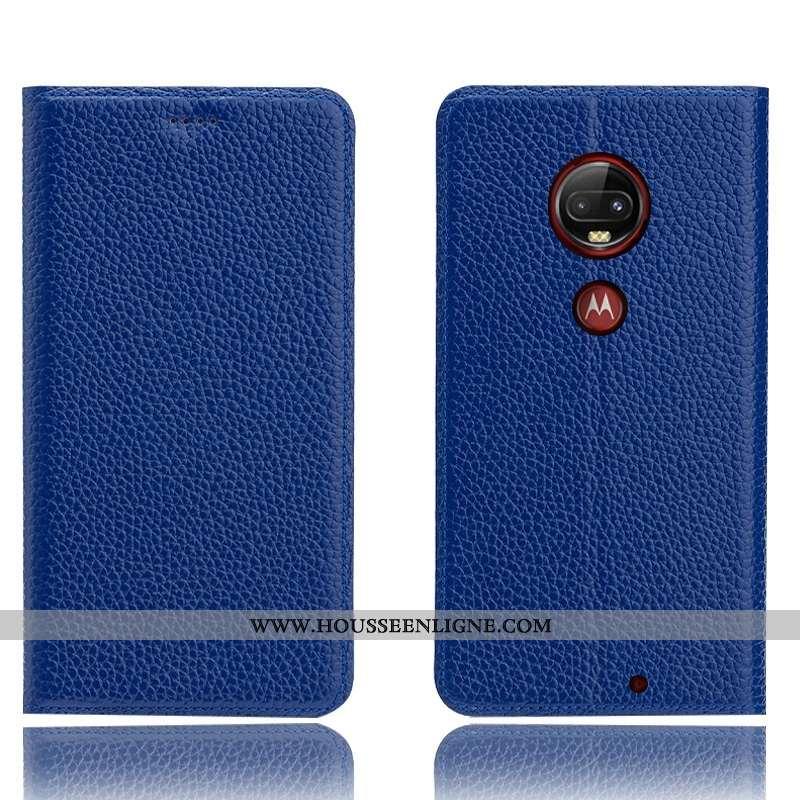 Étui Moto G7 Plus Cuir Véritable Modèle Fleurie Incassable Coque Téléphone Portable Protection Bleu
