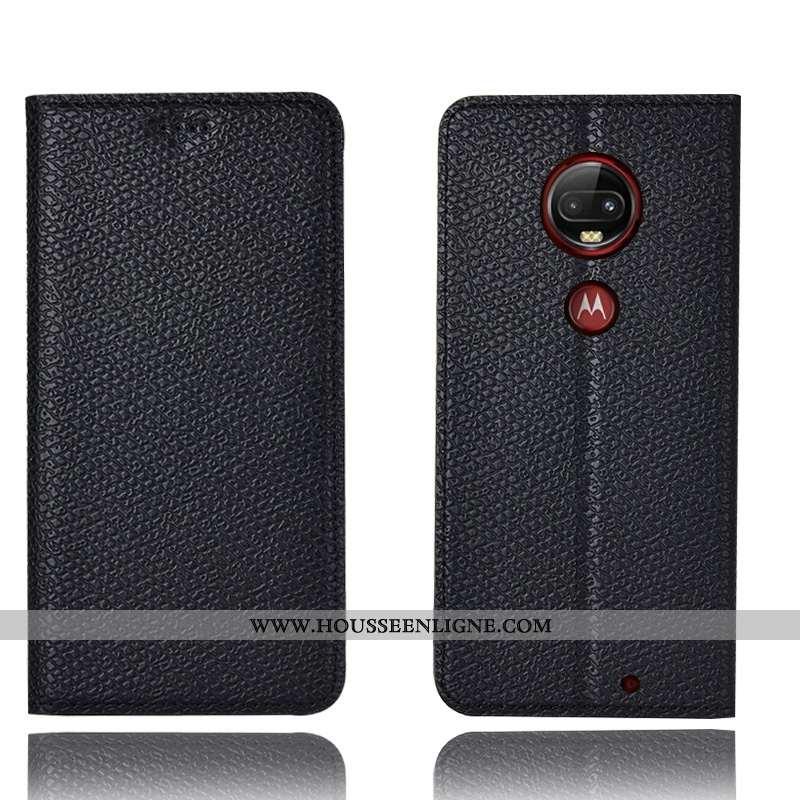 Étui Moto G7 Plus Cuir Véritable Modèle Fleurie Téléphone Portable Coque Incassable Housse 2020 Noir