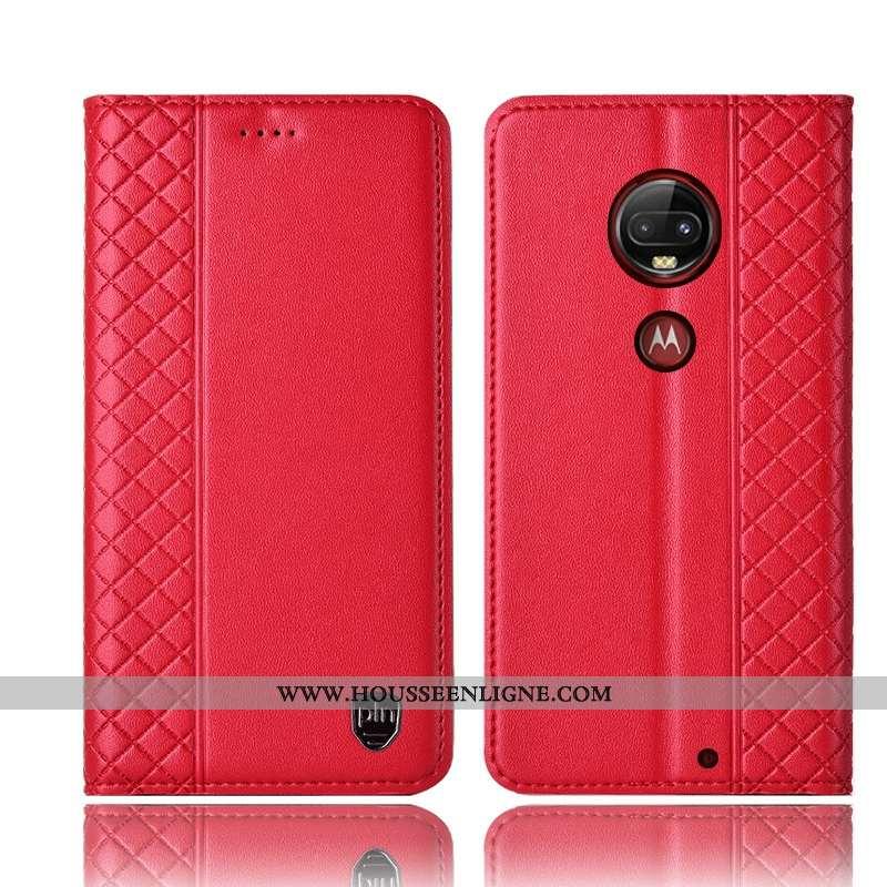 Étui Moto G7 Plus Cuir Véritable Protection Coque Rouge Tout Compris Téléphone Portable