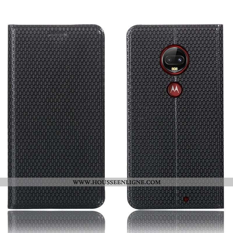 Étui Moto G7 Plus Cuir Véritable Protection Téléphone Portable Noir Coque Incassable