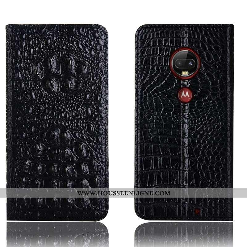 Étui Moto G7 Plus Protection Cuir Véritable Téléphone Portable Crocodile Noir Housse Incassable