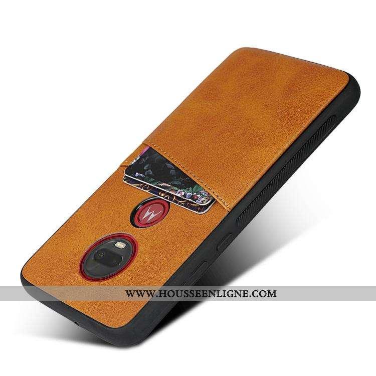 Étui Moto G7 Plus Silicone Protection Fluide Doux Carte Coque Téléphone Portable Jaune