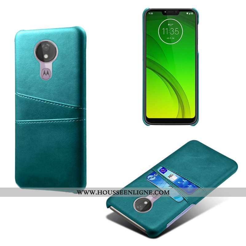 Étui Moto G7 Power Cuir Bleu Téléphone Portable Difficile Carte Coque