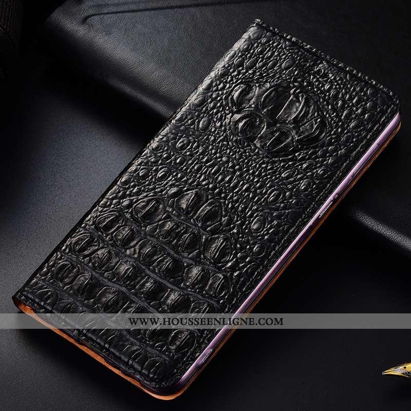 Étui Moto G8 Plus Cuir Véritable Protection Crocodile Noir Tout Compris Housse