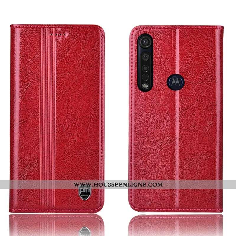 Étui Moto G8 Plus Cuir Véritable Protection Tout Compris Coque Housse Téléphone Portable Rouge