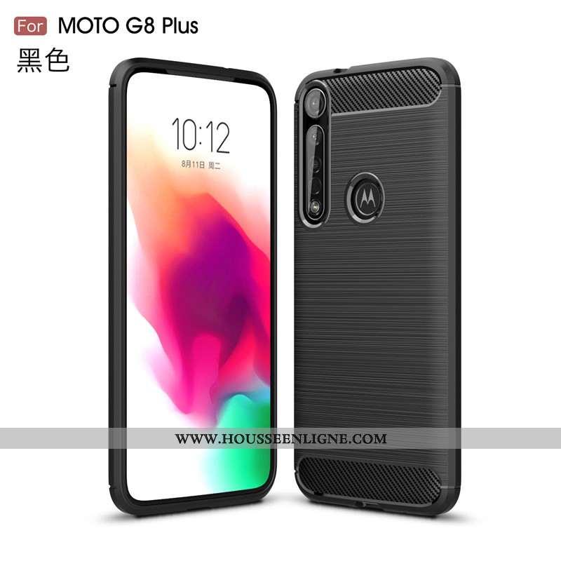Étui Moto G8 Plus Protection Fluide Doux Noir Téléphone Portable Antidérapant Coque Soie