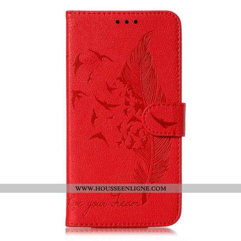 Étui Moto G8 Power Cuir Téléphone Portable Rouge Coque Tout Compris Clamshell