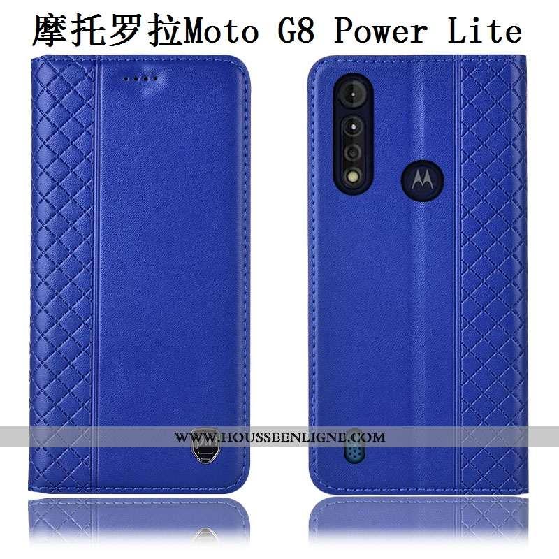 Étui Moto G8 Power Lite Cuir Cuir Véritable Incassable Téléphone Portable Coque Bleu