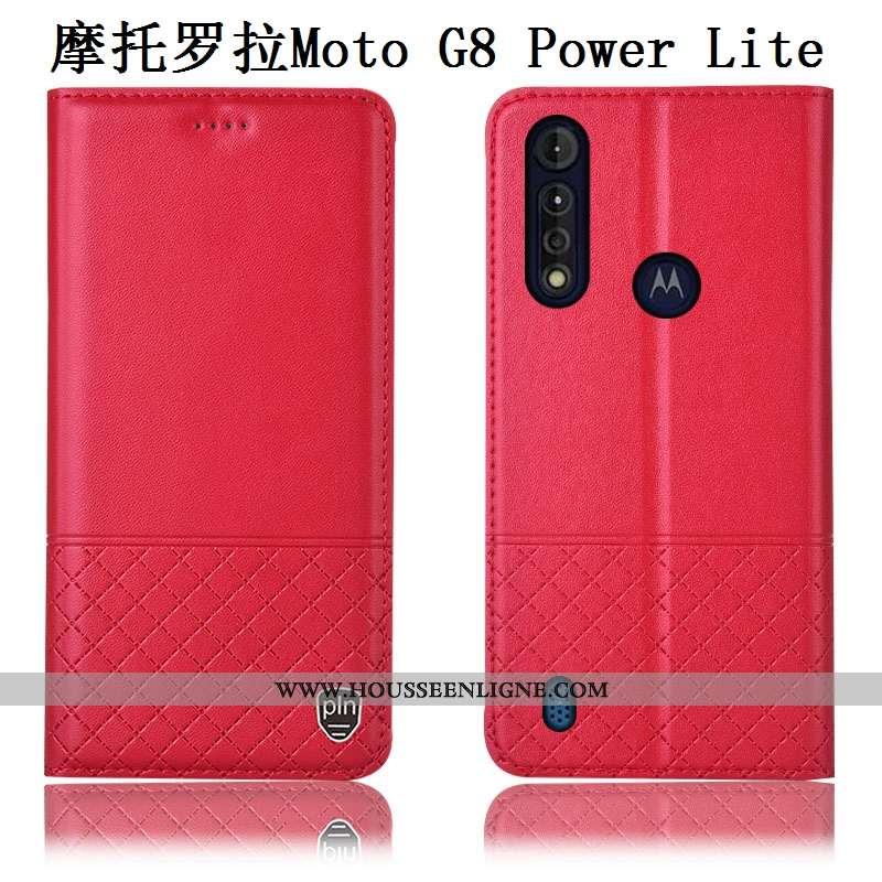 Étui Moto G8 Power Lite Cuir Cuir Véritable Téléphone Portable Rouge Véritable Incassable