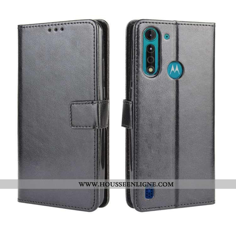 Étui Moto G8 Power Lite Cuir Protection Ornements Suspendus Noir Coque Téléphone Portable