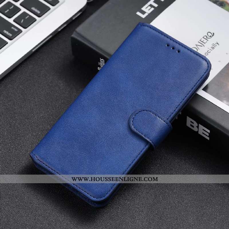 Étui Moto G8 Power Lite Cuir Sac Carte Téléphone Portable Clamshell Bleu Coque