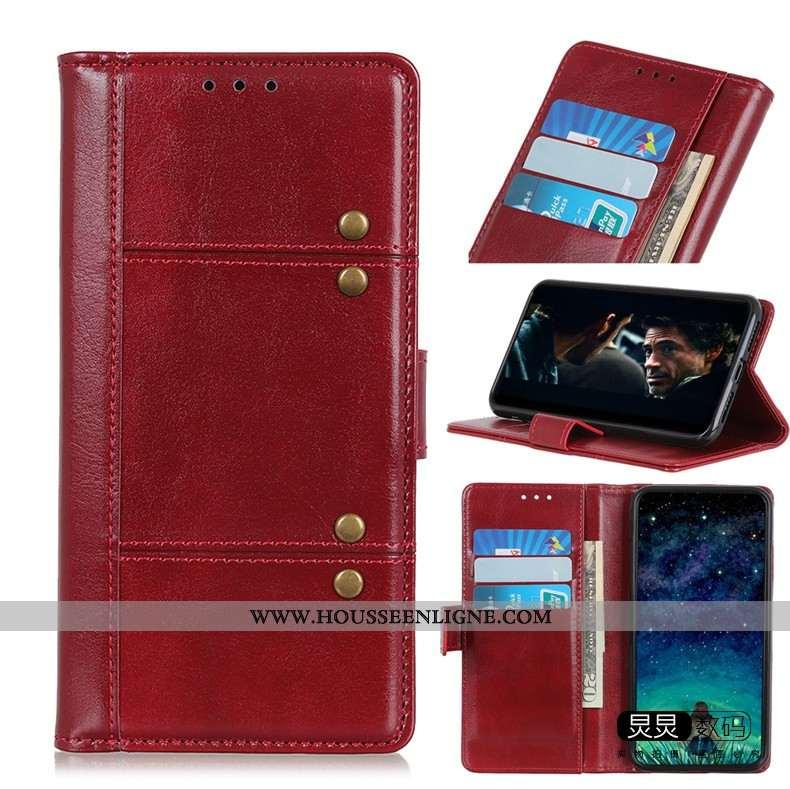 Étui Moto G8 Power Lite Cuir Silicone Tout Compris Housse Téléphone Portable Rouge