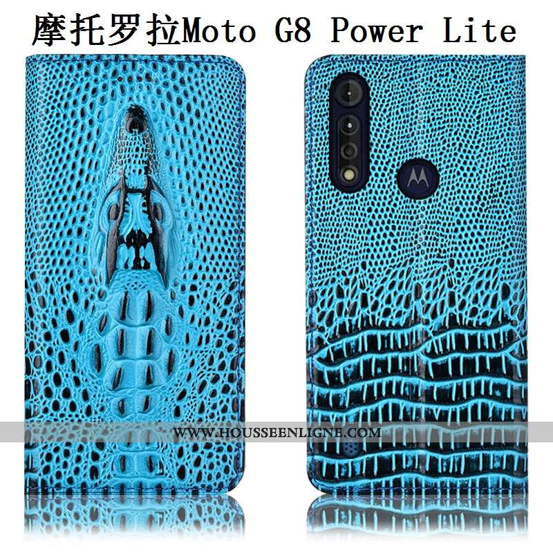 Étui Moto G8 Power Lite Protection Cuir Véritable Bleu Téléphone Portable Coque Housse Incassable