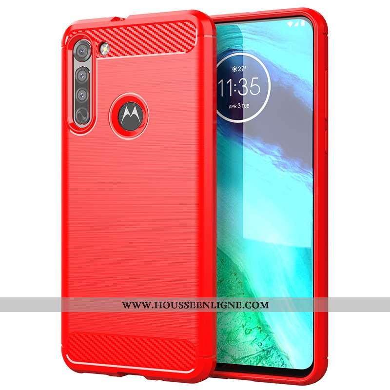Étui Moto G8 Power Lite Protection Silicone Coque Téléphone Portable Rouge