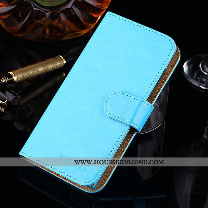 Étui Motorola Edge Protection Délavé En Daim Tissu Cuir Téléphone Portable Coque Bleu