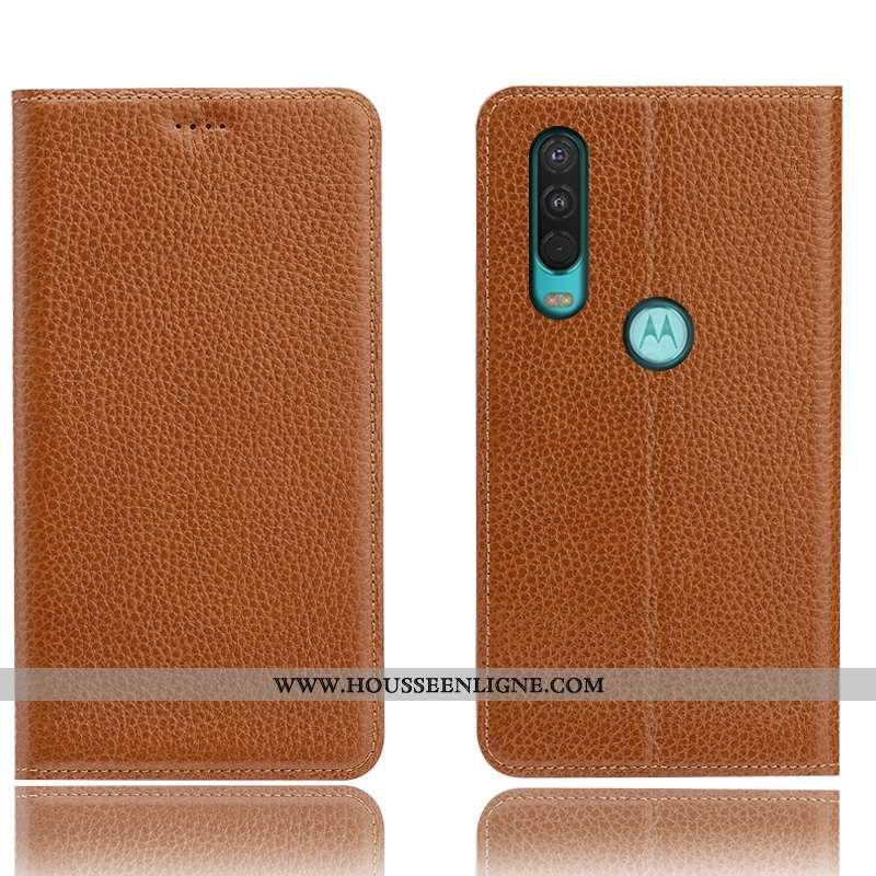 Étui Motorola One Action Cuir Véritable Modèle Fleurie Housse Coque Téléphone Portable Incassable Ma