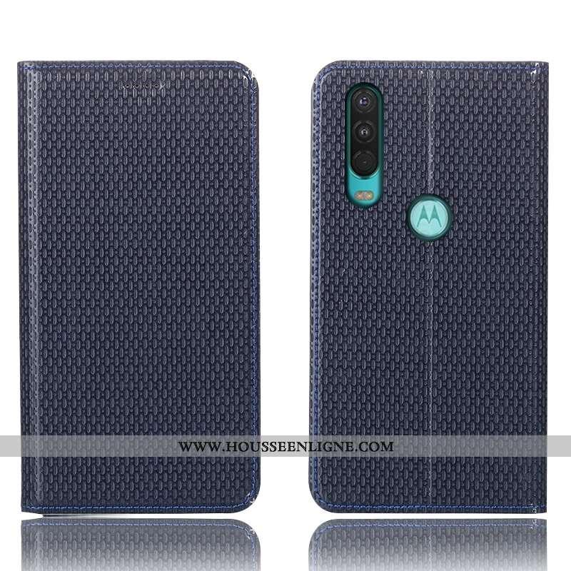 Étui Motorola One Action Cuir Véritable Protection Bleu Marin Housse Téléphone Portable Coque Bleu F