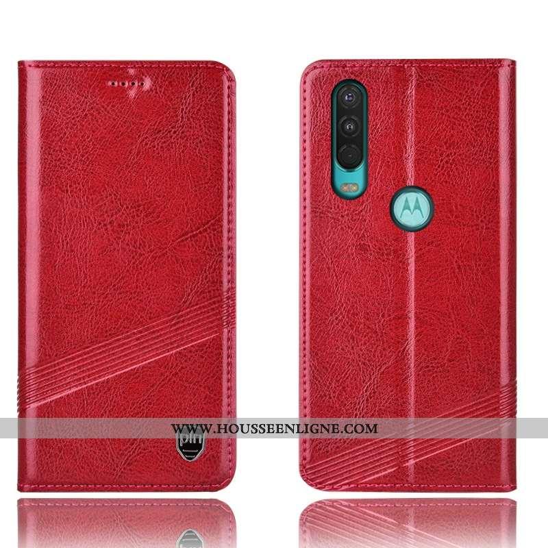 Étui Motorola One Action Protection Cuir Véritable Rouge Incassable Téléphone Portable Housse Coque