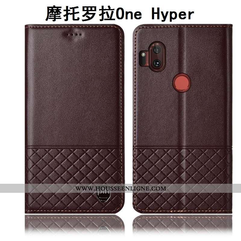 Étui Motorola One Hyper Cuir Véritable Protection Coque Téléphone Portable Incassable Housse Marron