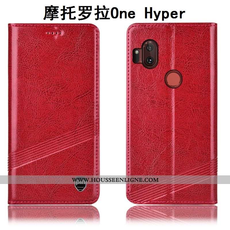 Étui Motorola One Hyper Cuir Véritable Protection Housse Téléphone Portable Coque Incassable Marron