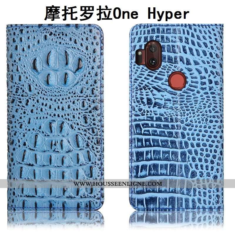 Étui Motorola One Hyper Protection Cuir Véritable Bleu Téléphone Portable Housse Incassable Crocodil