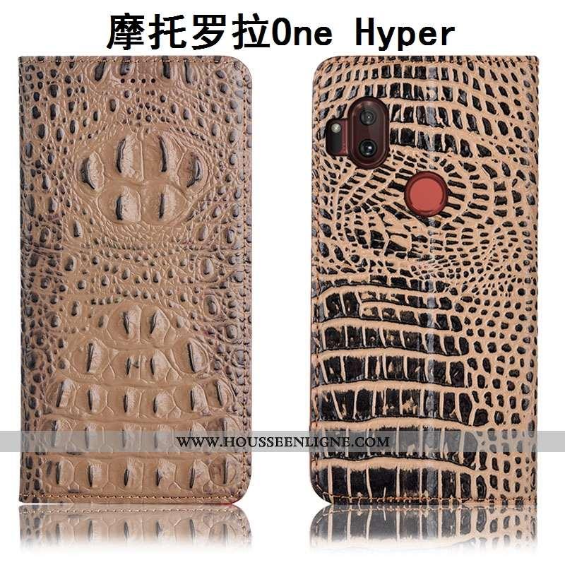 Étui Motorola One Hyper Protection Cuir Véritable Housse Crocodile Incassable Coque Téléphone Portab